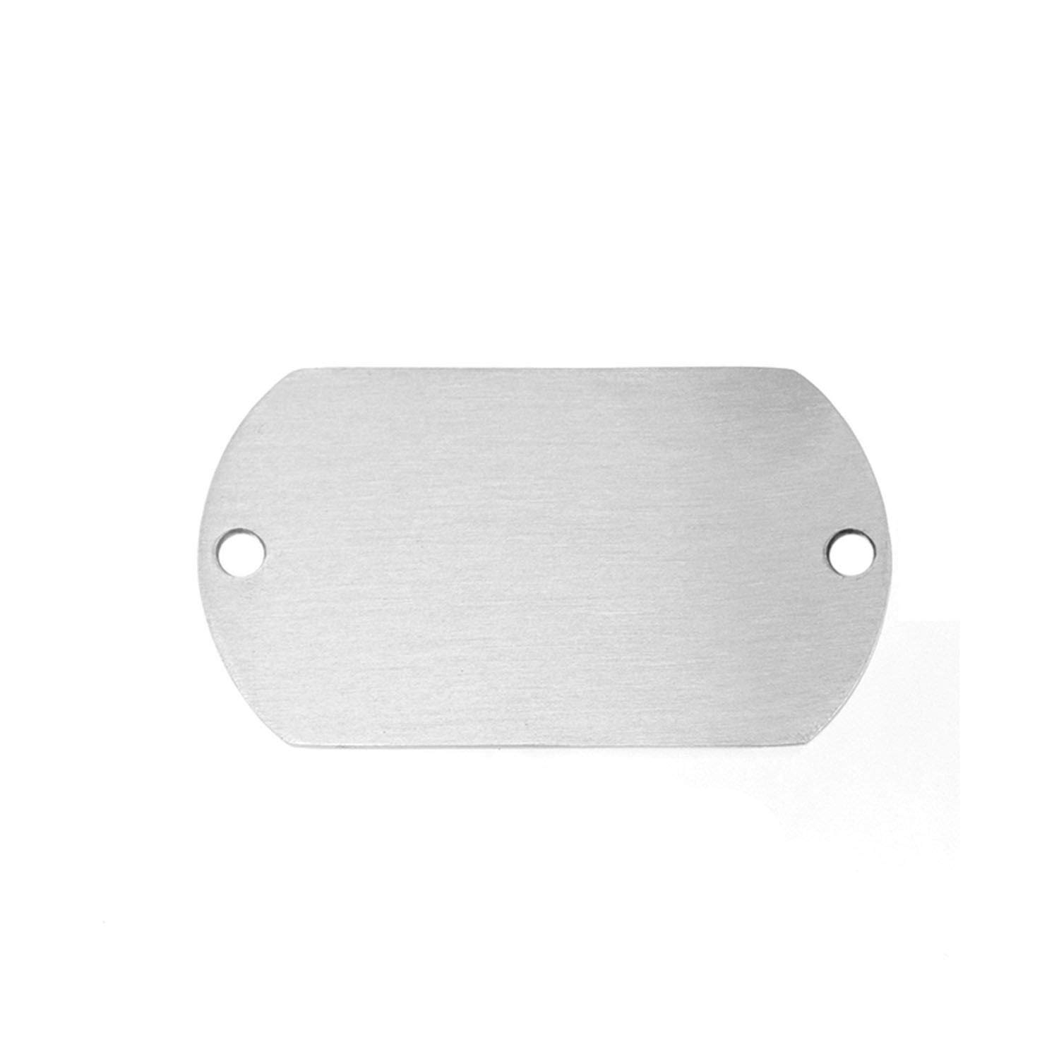 Stainless Steel Matte Surface 2 Loop Holes Dog Tag Blank Id Tags Both Sides Brush Polished 50 Pcs,22x36steel