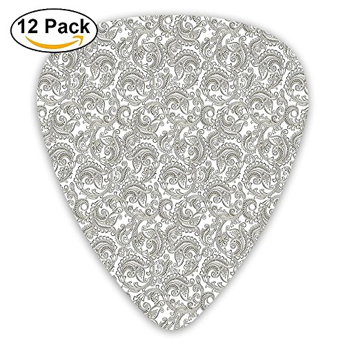 Newfood Ss Traditional Indian Damask With Classic Ethnic Effects Artful Ornate Pattern Guitar Picks 12/Pack Set