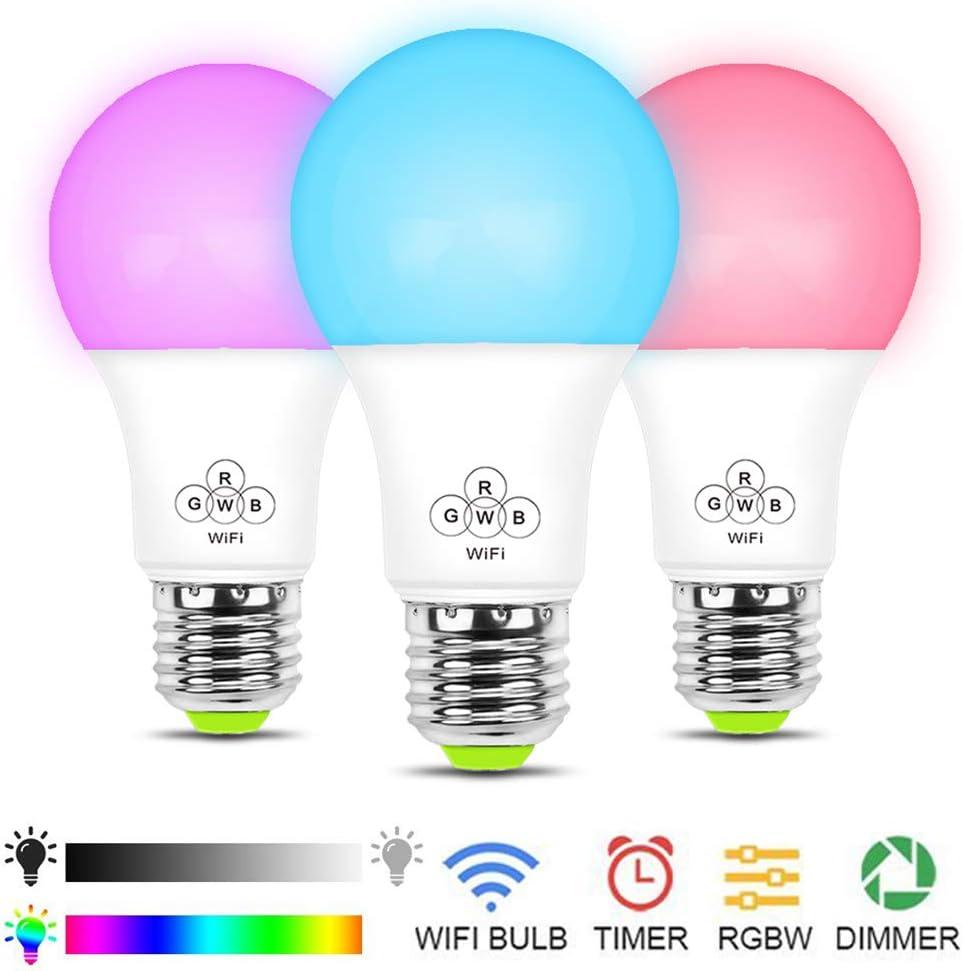 WiFi Ampoule LED Intelligente RGBCW 7W Equivalence Incandescence 50W Smart LED Bulbs E27 Lampes dAmbiance 500LM avec la minuterie Compatible avec  Alexa//Google Home