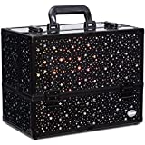 """Makeup Case 6 Trays Large 14"""" x 8.5"""" x 11"""" Train Cases Cosmetic Organizer Storage Box by Joligrace - Star Pattern"""
