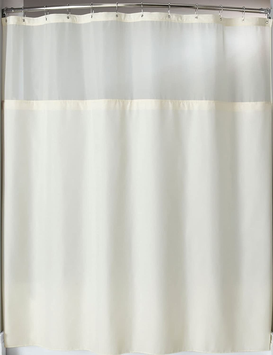 Trendy Linens Hotel Quality Shower Curtain With Detachable Liner Includes Its A Snap Polyester Magnets And Sheer Voile Peek Boo Window