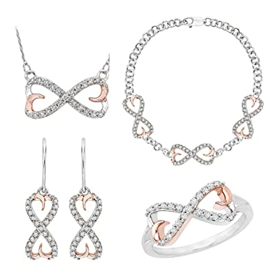 Amazon Infinity Double heart Diamond Jewelry Set in 10K Two
