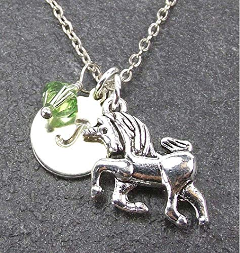- Unicorn Necklace with Custom Initial Name Charm and Birthstone Crystal from Swarovski