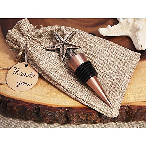Vintage Starfish Bottle Stopper in Rustic Burlap Gift Bag - 48 Pieces by Cassiani