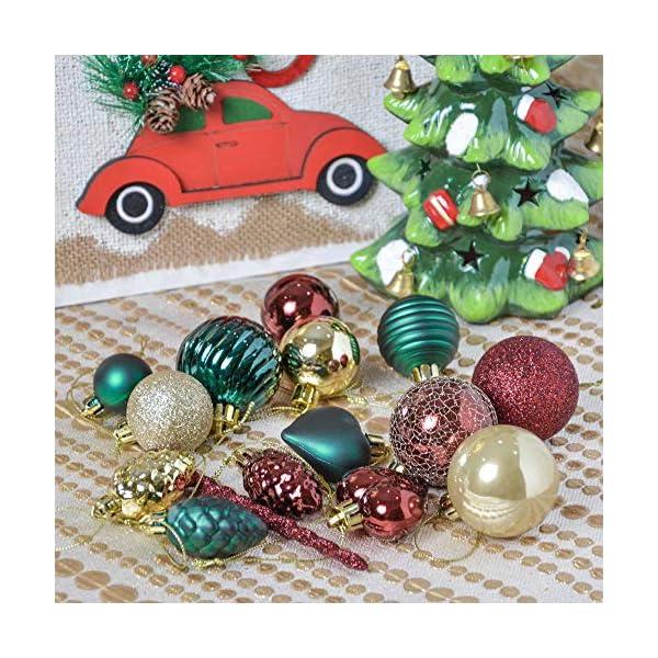 Valery Madelyn Palle di Natale 60 Pezzi di Palline di Natale, 3-5 cm di Strada di Campagna Rosso Verde e Oro Infrangibile Ornamenti di Palla di Natale Decorazione per la Decorazione 6 spesavip