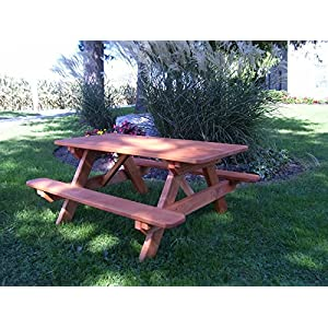 A&L Furniture 4' Amish-Made Pressure-Treated Pine Kids Picnic Table, Redwood Stain
