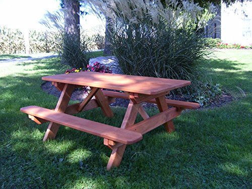A&L Furniture 4' Amish-Made Pressure-Treated Pine Kids Picnic Table, Redwood Stain (4' Kids Picnic Table)