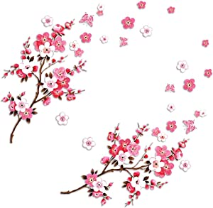 2 Sets of Cherry Blossom Wall Decal Stickers with Butterflies, Removable Vinyl Wall Art Home Decoration