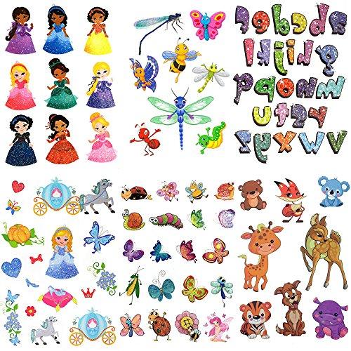 Temporary Tattoos for Kids, Princess Animals Cartoon Alphabet Temporary Fake Tattoos Stickers Paper for Boys Girls (6 Sheets) -