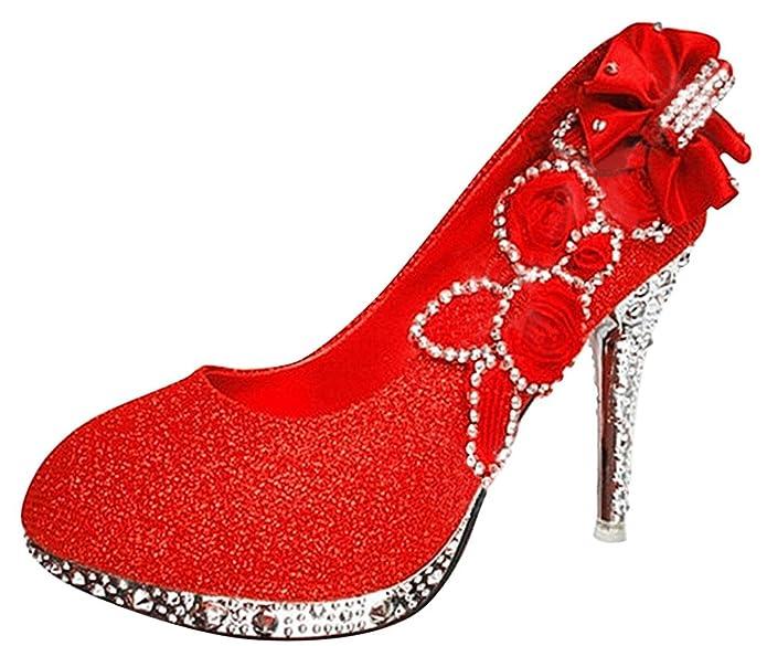 34670fdfdd8c5 Wotefusi Women 3D Flowers Rhinestone Bling Wedding Party Club Bride  Bridesmaid High Heels Shoes Stiletto  Amazon.co.uk  Shoes   Bags