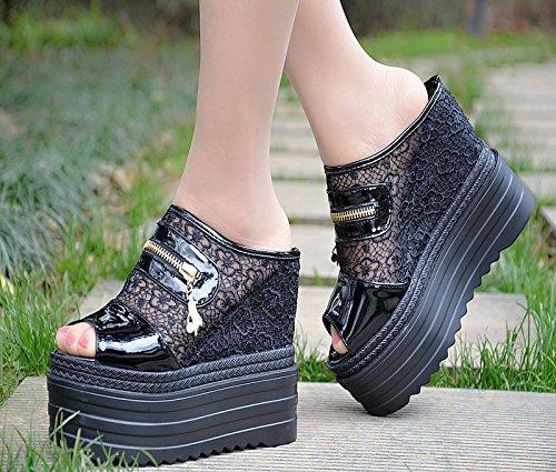 centímetros de zapatillas de tacon verano 13 alto Black en XiaoGao super 5EPqUwx