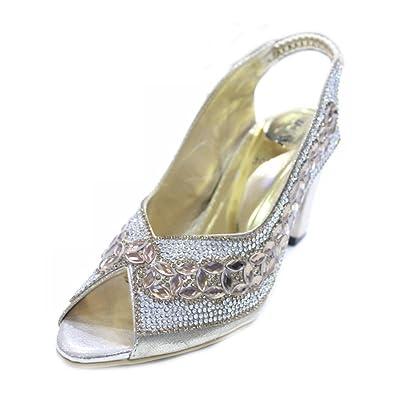 c276637f4c9b94 Wear   Walk UK W W Women Ladies Evening Fashion Sandal Comfort Diamante  Bridal Wedding Party Block Heel Shoes Size 4-9(Anum)  Amazon.co.uk  Shoes    Bags