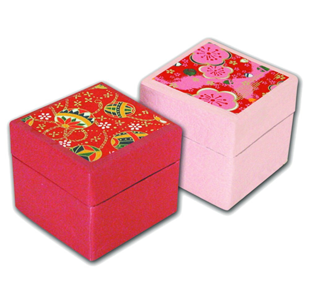 Yuzen-Box mit 100 Blatt Washi, 6x6cm pink CB-100-1p Taniguchi Kyoto CB100-001