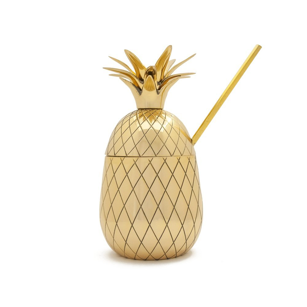W& P Design MAS-PINEB The Pineapple Large Brass Tumbler with Straw, 16 oz, Gold