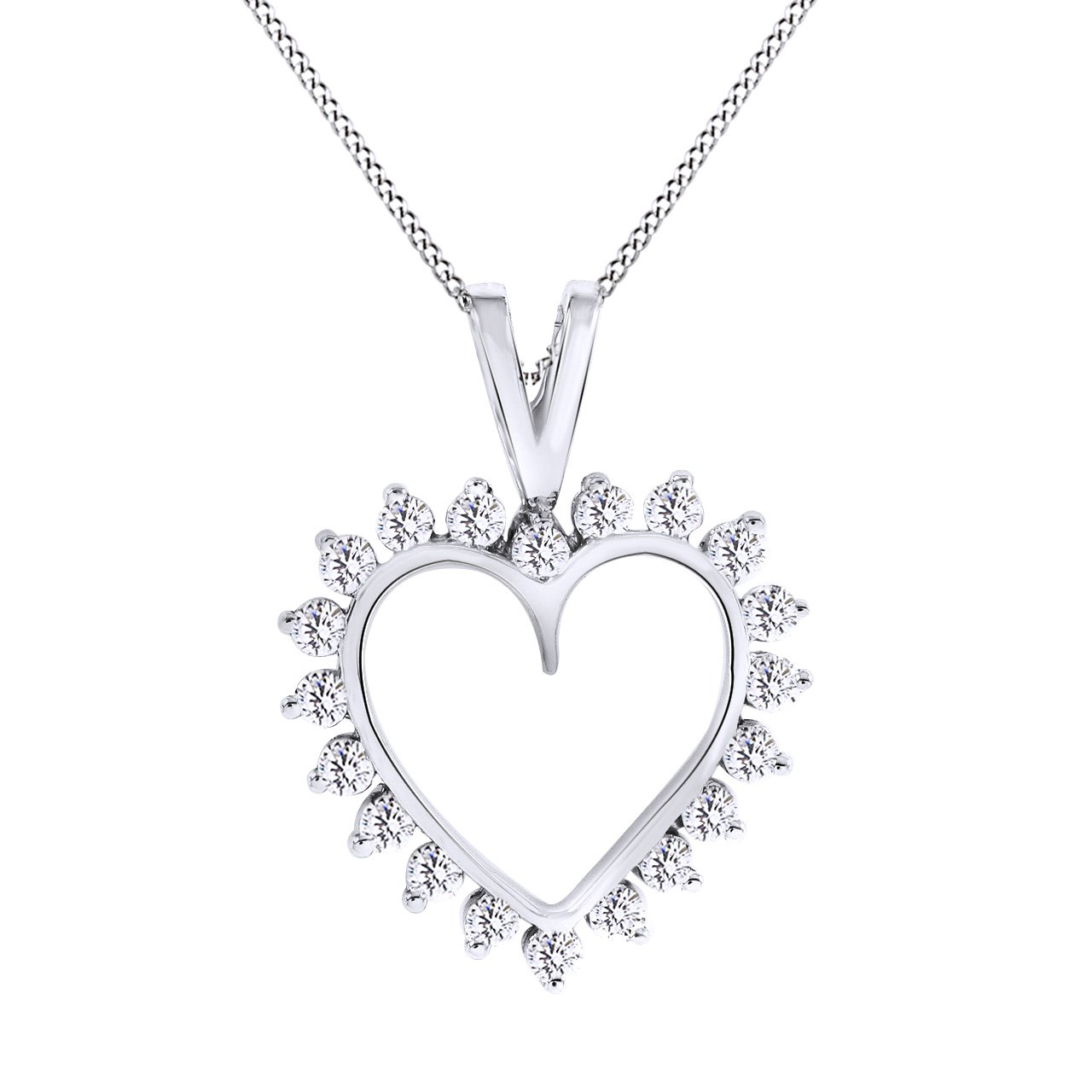 2.15 Cttw AFFY Round Cut Cubic Zirconia Heart Pendant 14k White Gold Over Sterling Silver