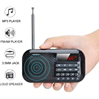 Lychee Radio Pequeña Portatil, Mini Radio de Bolsillo Pocket Am/FM 2 Bandas de Radio Estéreo Digital Tuning Receptor con…