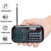 Lychee Mini Radio de Bolsillo Am/FM Digital Portátil MP3 Audio Reproductor con Auriculares Jack y 3W Estéreo Altavoz,Excelente Sonido,Pantalla LCD,Soporte Tarjeta TF/Disco USB
