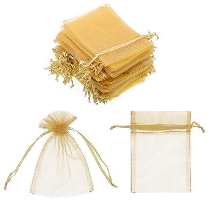 SumDirect 100Pcs 10x15cm tijido Transparente cordón Organza Joya Bolsas Fiesta de Boda Navidad Bolsas de Regalo (Oro)