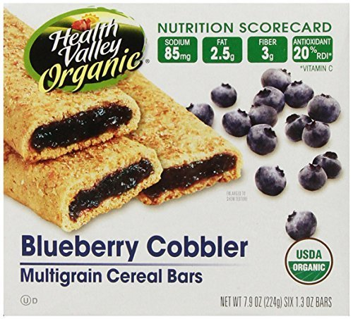 Health Valley Organic Multigrain Cereal Bars, Blueberry Cobbler, 6 Bars, 7.9 Ounce (Pack of 6) by Health Valley (Multigrain Cereal Bars)
