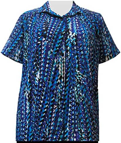 A Personal Touch Cobalt Harlequin Women's Plus Size Blouse