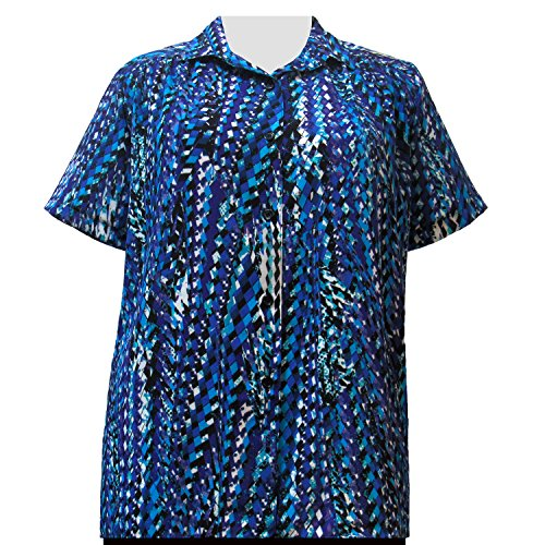 A Personal Touch Cobalt Harlequin Women's Plus Size Blouse - 6X