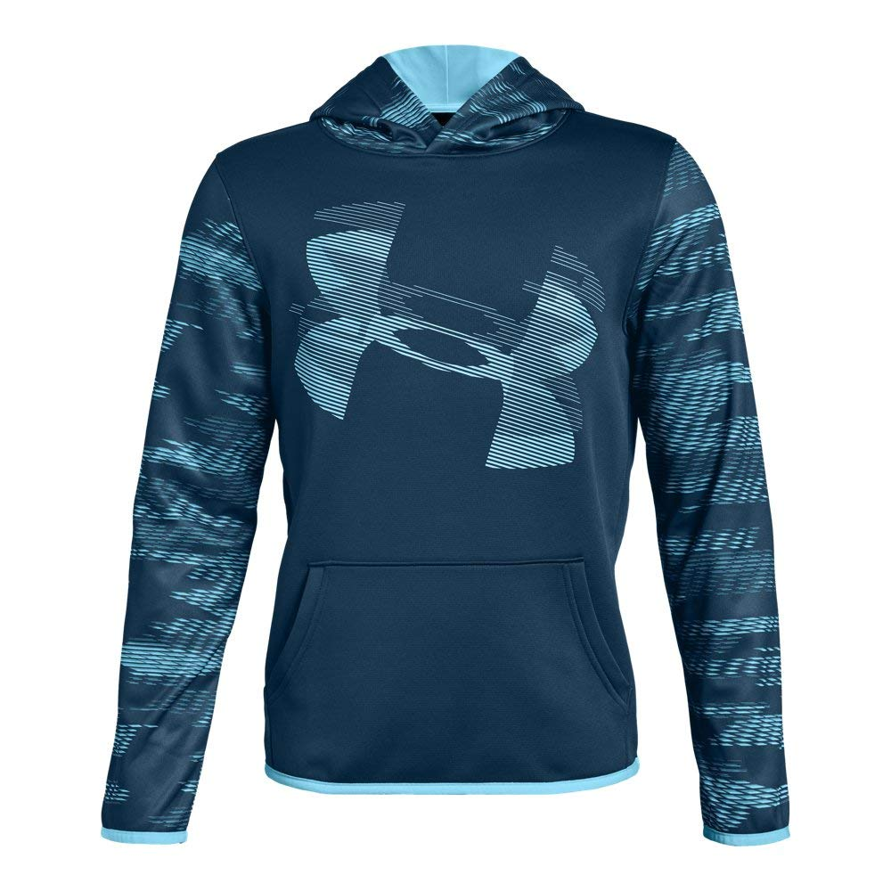 Under Armour Kids Boy's AF Highlight Sleeve Hoodie (Big Kids) Techno Teal/Venetian Blue Medium by Under Armour