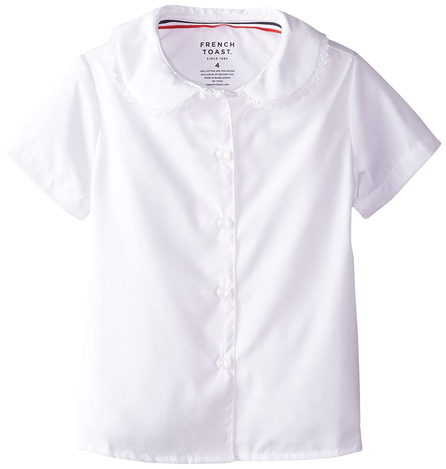 French Toast Girls' Short Sleeve Peter Pan Blouse With Lace Trim SE9322