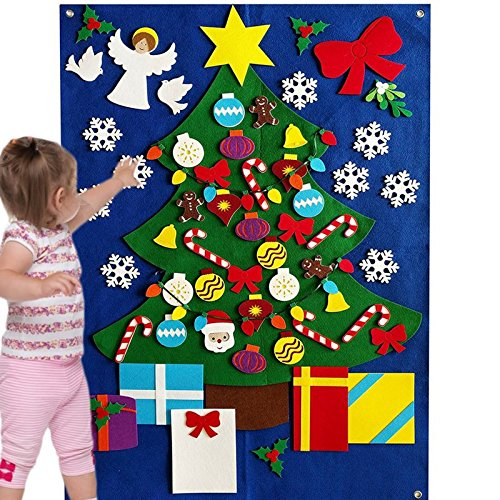 Felt Christmas Tree for Kids Toddlers Wall Decoration Set Flannel Storyboard Giant 3.5 FT Premium Quality Holiday Winter Ornament Xmas Story DIY Quiet Book 50+ Pieces Ornament (Deluxe) by KTO