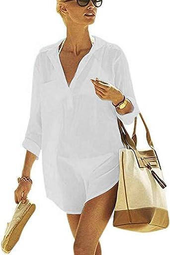 heekpek Mujer Gasa Pareos Traje De Baño Bikini Playa Manto Blusa Media Manga para Playa o Piscina, Vestido de Playa Vintage: Amazon.es: Ropa y accesorios