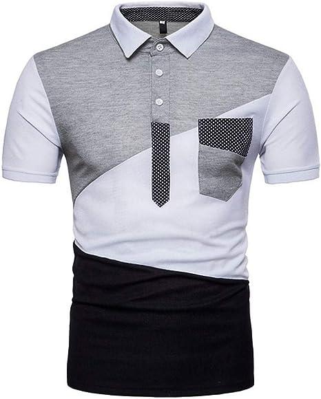NISHISHOUZI Nuevos Hombres Camiseta Slim Fit Color de Contraste ...