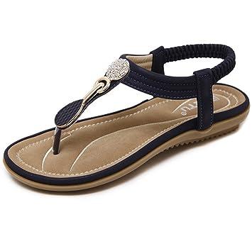 LBY Damen Sandalen Peep Toe Gummiband T-Riemen Böhmen römisch Sommer Strand Post Sandalen Flip Flops Flacher Absatz Schuhe Hausschuhe Riemen, 004, UK 7/EU 40