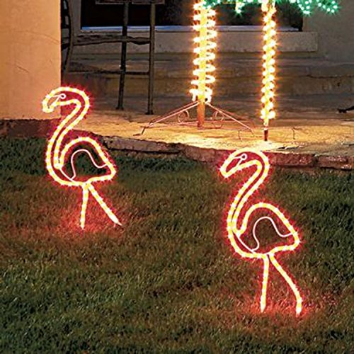 2 Tropical Lighted Pink Flamingo Rope Light Outdoor Yard Art Decorations 24'' by Roman