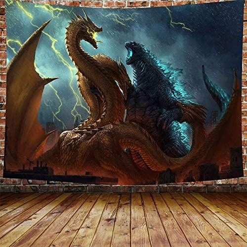DBLLF Funny Monster Ukiyo-e Tapestry, Movie Monster Theme Decoration for Apartment Home Art Wall Tapestry,Queen Size 80 x60 Flannel Art Tapestries,for Living Room Dorm Bedroom Home DBLS1192