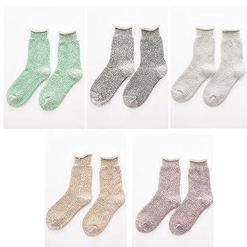 YILIAN wazi Calcetines Gruesos y Largos de algodón para Mujeres Calcetines Altos Calcetines de Toalla Calcetines