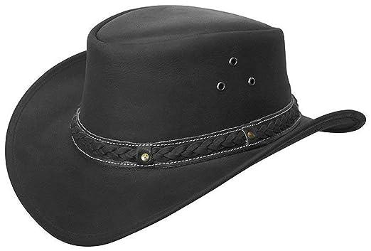 8f5cc56ede8648 Brandslock Men's Wide Brim Cowboy Aussie Leather Hat Vintage (S, Black)
