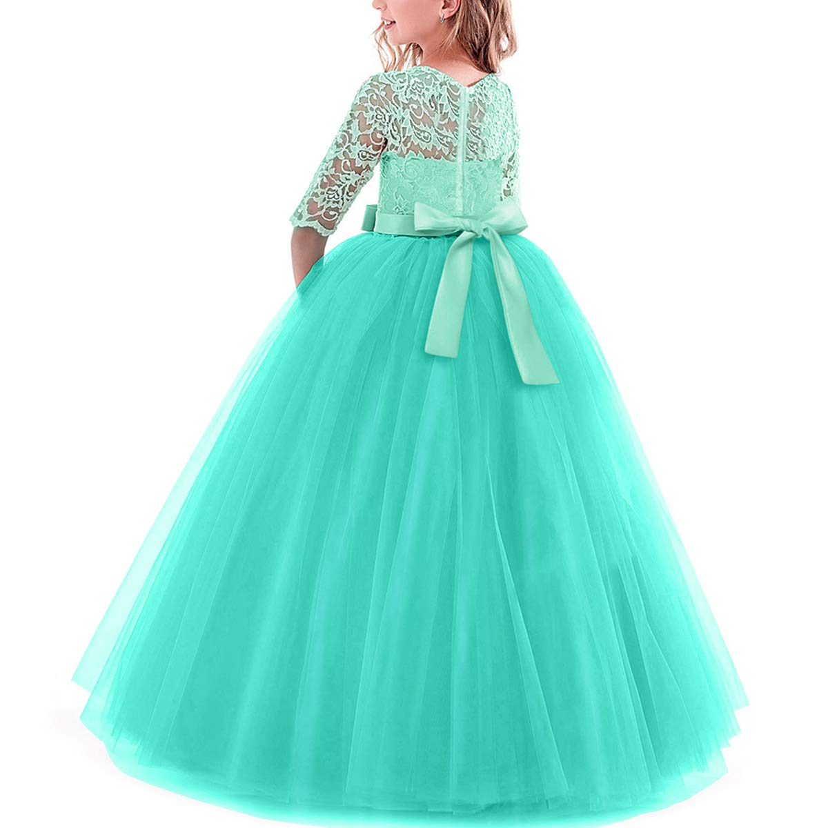 Girls Flower Floral Lace 3//4 Sleeves Floor Long Princess Dress Wedding Party Evening Formal Pegeant Maxi Gown