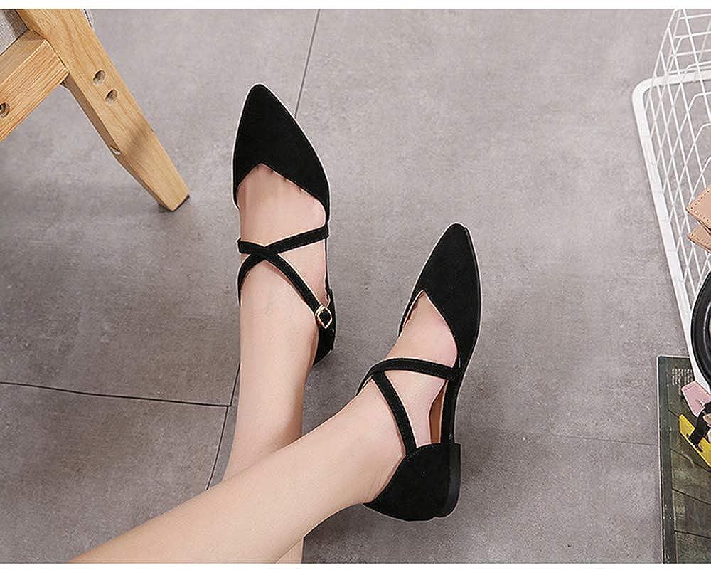 unanshengenefi Fashion Pointed wear-Resistant Flat Bottom Single Shoes Womens Shoes