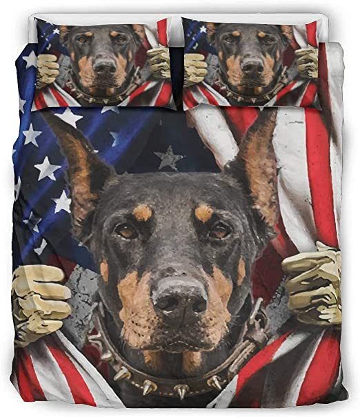 Amazon Com Nchjjo Doberman Dog Flag Wrinkle And Fade Resistant Bed Cover Bedding Wrinkle Free For College Dorm Room White 90x90 Inch Home Kitchen