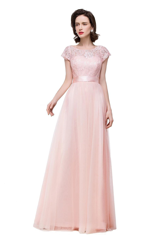 Babyonline® Damen Kurz Arm Lace Applikation Ballkleid Abendkleid Lang Brautjungfernkleider
