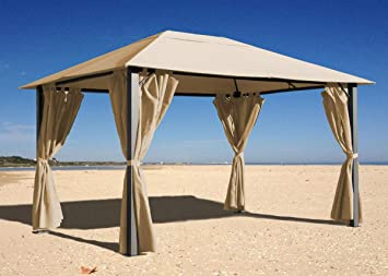 Quick-Star Garten Blätter Pavillon 3x4m Sand Partyzelt Metall Carport