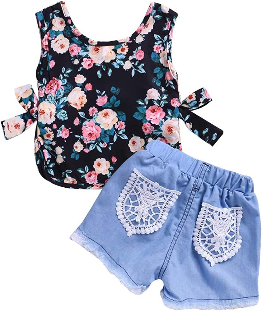 zhangwei Baby Girl Sleeveless T-Shirt Vest Tank Top+Lace Denim Shorts Summer Jeans Outfits