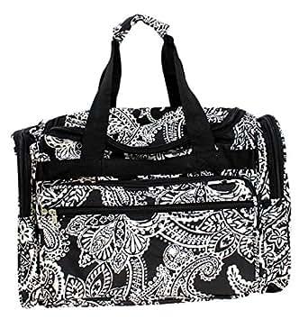 "Enimay Women's 19"" Duffel Luggage Tote Gym Bag Black Paisley"