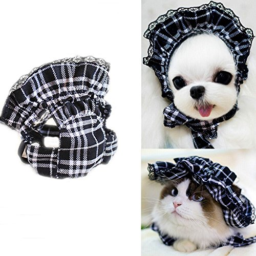 [Bro'Bear Pet Plaid Hat with Lace for Small Dogs & Cats Party Maid Costume Headwear (Black, Large)] (Maid Hat)