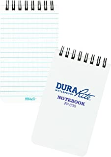 "product image for Rite In The Rain Waterproof (DURARITE) Top-Spiral Notebook, 3"" x 5"", White Cover, Universal Pattern (No. 635)"
