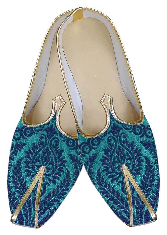 INMONARCH Hombres Zapatos de Diseñador Jodhpuri Azul MJ0060 44.5 EU