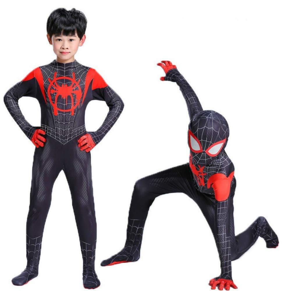 Cavalaria Toddler Kids Spider Verse Miles Morales Jumpsuit Bodysuit Kids and Adult Black Spider Tights Zentai Costume