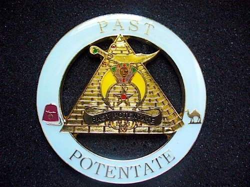 Delux Shriners Past Potentate White and Gold Heavy Alloy Car Emblem