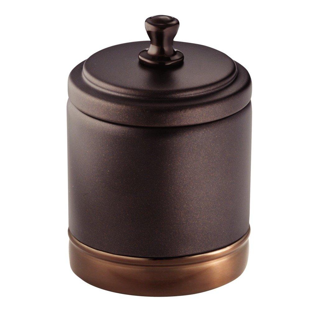 Amazon.com: InterDesign York Metal Bathroom Vanity Canister Jar For Cotton  Balls, Swabs, Cosmetic Pads   Split Bronze: Home U0026 Kitchen