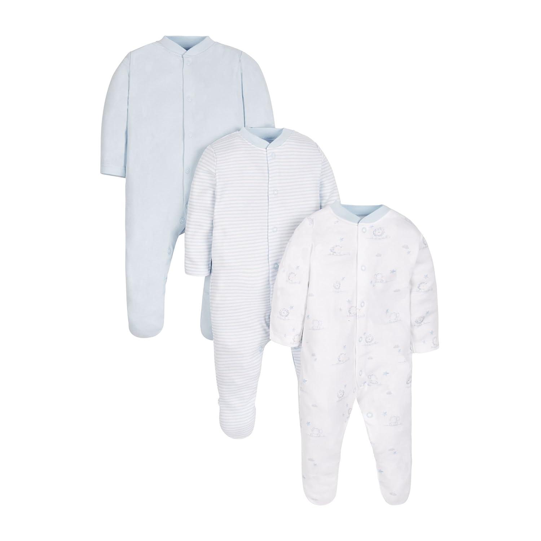 Mothercare Pyjama Bébé garçon Mothercare 3 Pack Bleu (Blue 128) jusqu' à 3 Mois KA021