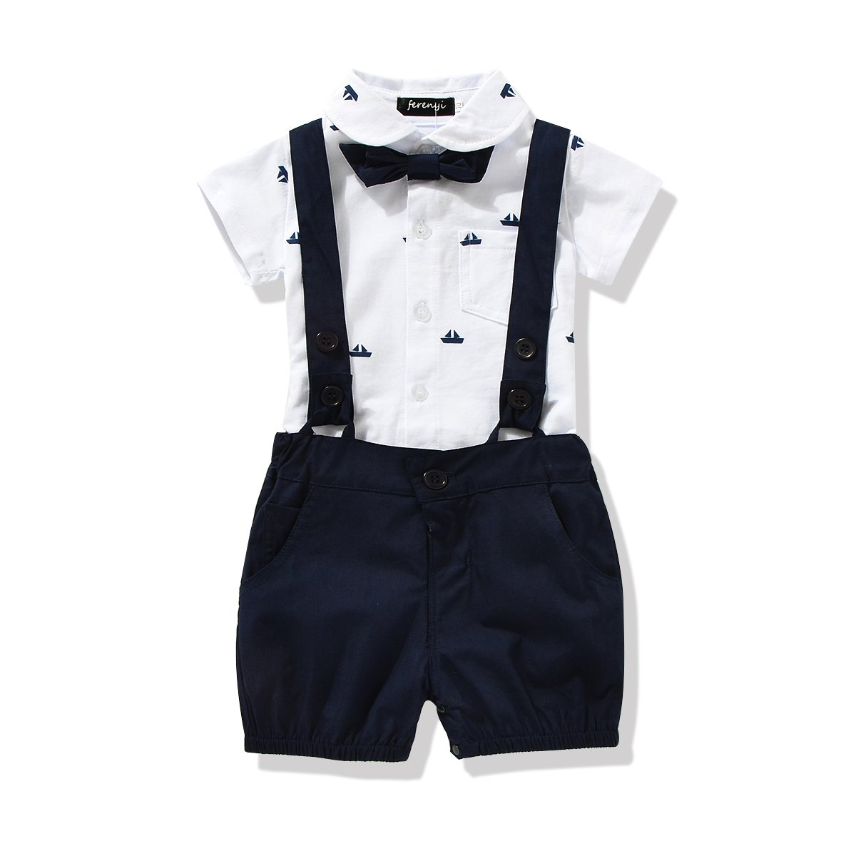 FERENYI US Baby Boys Bowtie Gentleman Romper Jumpsuit Overalls Rompers (7-12 Months, Navy Blue) by FERENYI